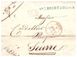 Càd Rouge De DIJON Sur Lettre En PP Pour SEURRE Du 9 Aout 1841 - Ohne Zuordnung