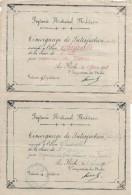Prytanée National Militaire/ 2 Témoignages De Satisfaction/ Chédeville/ La Flêche/1918    CAH114 - Diplômes & Bulletins Scolaires