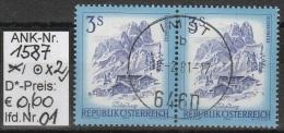 """22.3.1974 - FM/DM """"Schönes Österreich"""" S 3,00 Kobaltblau  - 2 X O Gestempelt  - Siehe Scan (1587o X2 01-02) - 1971-80 Usados"""