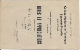 Académie De Paris /Notes Et Appréciations/Collége Moderne Et Technique Benjamin-Franklin/ORLEANS/Huvey/1948-1949 CAH121 - Diplômes & Bulletins Scolaires