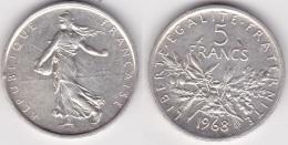 5 FRANCS SEMEUSE Argent 1968 (voir Scan) A - J. 5 Francs
