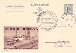 PUBLIBEL N° 1588 - Ostende/Douvres  - FR/NL -  OBLITERE ET NON ECRIT - Beau Cachet  Jumelage Woluwé-Meudon - Werbepostkarten