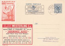 PUBLIBEL N° 1065 - Assurance Auto - FR/NL -  Beau Cachet Oblitéré Mechelen - Vignette - Entiers Postaux