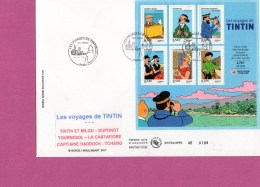 FRANCE BLOC N°109 LES VOYAGES DE TINTIN HERGE SUR  FDC (B14) - 2000-2009