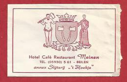 Suikerzakje.- BEILEN. Hotel Cafe Restaurant - MEINEN -. Annex Slijterij - 't Hoekje - Sugar. Sucre. Zucker. 2 Scans - Sugars
