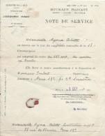 Note De Service/Direction De L'Enseignement Primaire/Seine/Institutrice Suppléante/NYOUX Arlette/1934 CAH133 - Diplômes & Bulletins Scolaires