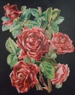 Grand Découpis Gaufré - Les Roses Rouges - 19 X 13.5 Cm - Fleurs