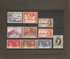 ANTIGUA 1937 - 1953 COMMEMORATIVE SETS LIGHTLY MOUNTED MINT Cat £7.40 - 1858-1960 Crown Colony