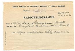 Télégramme Du Paquebot Alsina De Lessines à Marseille ( Société Générale De Transports Maritimes à Vapeur - Marseille ) - Bateaux