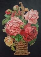 Grands Découpis Gaufré - Le Panier D'osier Aux Roses - 23 Cm X 16 Cm - Fleurs
