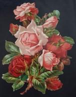 Grand Découpis Gaufré - Les Roses - 22.6 Cm X 16.5 Cm - Fleurs