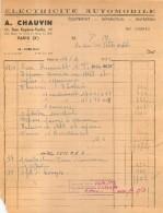 A.  CHAUVIN ELECTRICITE AUTOMOBILE 11 RUE EUGENE VARLIN PARIS 10e   02/1952 - 1950 - ...