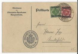 WÜRTTEMBERG - 1919 - CARTE De SERVICE De La CAISSE D´EPARGNE De MERGENTHEIM - BANQUE - Deutschland