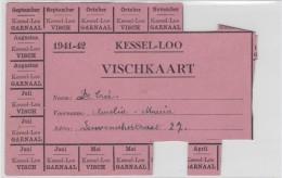 KESSEL-LO-OORLOG-1941-1942-VISCHKAART-RANTSOENERINGSBONNEN-ORIGINEEL DOCUMENT-POSTKAARTFORMAAT-ZIE 2 SCANS ! ! ! - Leuven