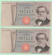 1000 Lire Verdi Numeri Consecutivi - [ 2] 1946-… : République