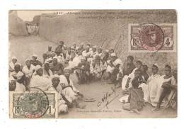 CPA SOUDAN Notables D'un Village Rassemblés Pour Une Garve Affaire Hommes Assis Regroupés - Soudan