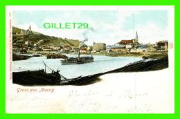 AUSSIG, TCHÉQUIE - GRUSS AUS AUSSIG - TRAVEL IN 1900 -  ANIMATED OLD SHIPS - UNDIVIDED BACK - CARL PIETZNER - - Tchéquie