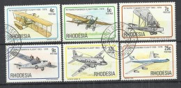 RHODESIA 1978 - 75 YEARS POWERED FLIGHT  - CPL. SET - USED OBLITERE GESTEMPELT USADO - Airplanes