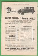 Auto Cars Alfa Romeo Pubblicità Listino Auto Del 1932 - Advertising