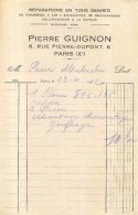 PIERRE GUIGNON REPARATIONS DE CHAMBRES A AIR 6 RUE PIERRE DUPONT PARIS Xe  11/1932 - Frankreich