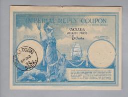 Kanada Canada Ganzsache Imperial Reply Coupon  5 Cents Saskatoon 1952-09-23 - 1903-1954 Rois