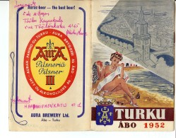 TURKU ABO 1952 Voyage Lors Des JO HELSINKI Dépliant En Anglais - Exploration/Voyages