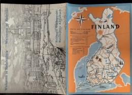 Carte HELSINKI Avec Quelques Photos De Monuments FILANDE 1952 Lors Des JO HELSINKI - Exploration/Voyages