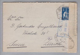 Portugal 1917-02-25 Zensurbrief Nach Zürich - 1910-... République
