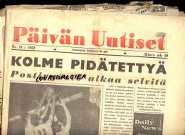 2 Journaux 1952 JO HELSINKI 1952 PAIVAN UUTISET N°70 Et HELSINGIN SANOMAT N°192 + Coupures Et Photos De Journaux - Boeken, Tijdschriften, Stripverhalen