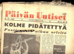 2 Journaux 1952 JO HELSINKI 1952 PAIVAN UUTISET N°70 Et HELSINGIN SANOMAT N°192 + Coupures Et Photos De Journaux - Scandinavian Languages
