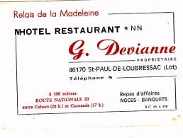 46 - ST PAUL  DE LOUBRESSAC    - HÔTEL RESTAURANT  G. DEVIANNE  - Carte De Visite - Visiting Cards