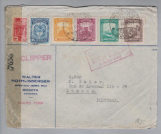 Kolumbien Columbia 1944-04-14 Zensur-Clipper-Brief Flugpost Nach Lissabon - Colombie