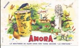 Buvard Moutarde Amora De Dijon.  Animaux Des Bois. - Alimentaire