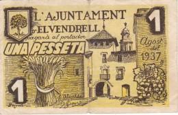 BILLETE DE 1 PTA DEL AJUNTAMENT DE EL VENDRELL DEL AÑO 1937 (BANKNOTE) - [ 3] 1936-1975 : Régimen De Franco