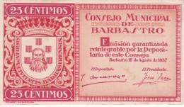 BILLETE DE 25 CTS DEL CONSEJO MUNICIPAL DE BARBASTRO DEL AÑO 1937 CALIDAD EBC (XF) (BANKNOTE) NUMEROS NEGROS - [ 2] 1931-1936 : República