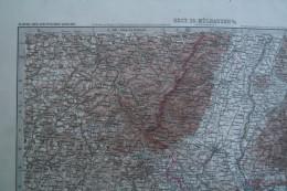 68 - MULHOUSE- MILHAUSEN- CARTE GEOGRAPHIQUE FIN XIX E- KARTE DEUTSCHEN REICHS- BERNE-BASEL-ZURICH-REMIREMONT-BESANCON- - Cartes Géographiques