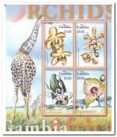 Gambia 2001, Postfris MNH, Flowers, Orchids, Giraffe - Gambia (1965-...)