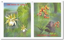 Gambia 2001, Postfris MNH, Flowers, Orchids, Monkey - Gambia (1965-...)