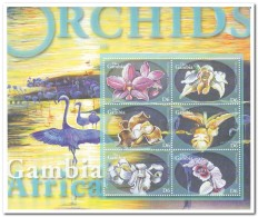 Gambia 2001, Postfris MNH, Flowers, Orchids, Birds - Gambia (1965-...)