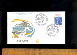 X3 Enveloppes Souvenir 60eme Championnat De France De Boules ( Lyonnaise Ou Pétanque) 1986 BOURG EN BRESSE Ain 3 Timbres - Commemorative Labels