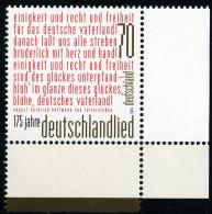 BRD - Michel 3263 Eckrand Rechts Unten - ** Postfrisch (F) - Ausgabe 06.10.2016 - 70C  175 Jahre Deutschlandlied - Nuovi