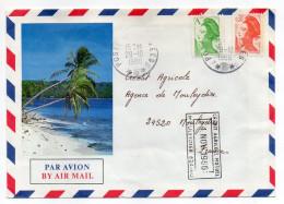 Nlle Calédonie-1986-Lettre Pour Mouleydier-24 -tps Marainne Liberté A+0.30 Enveloppe Illustrée Ile-cachets CA (banque ) - Briefe U. Dokumente