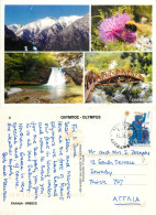Waterfall, Mt Olympus, Greece Postcard Posted 2010 Stamp - Griekenland