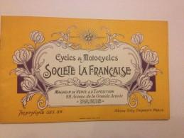 Cycles, Motocycles, SOCIETE LA FRANCAISE, Catalogue De Vente, Vers 1900 - Publicités