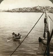 Palestine Jaffa Panorama Barque Bords De Mer Ancienne Photo Stereo Underwood 1901 - Stereoscopic