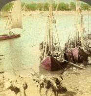 Egypte Bateaux Le Long Du Nil Ancienne Photo Stereo Underwood 1896 - Stereoscopic