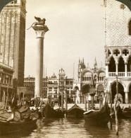 Italie Venise Le Lion Et Piazza San Marco Ancienne Photo Stereo Underwood 1900 - Photos Stéréoscopiques