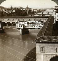 Italie Florence Ponte Vecchio Riviere Arno Ancienne Photo Stereo Underwood 1900 - Photos Stéréoscopiques