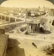Italie Roma Rome Vieux Tibre Et Ile Panorama Ancienne Photo Stereo Underwood 1900 - Stereoscopic