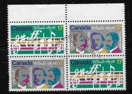 CANADA, 1980, USED #858ai,  O CANADA CENTENARY PAIR MNH  Variety  Dot On Moustache BLOCK OF 4
